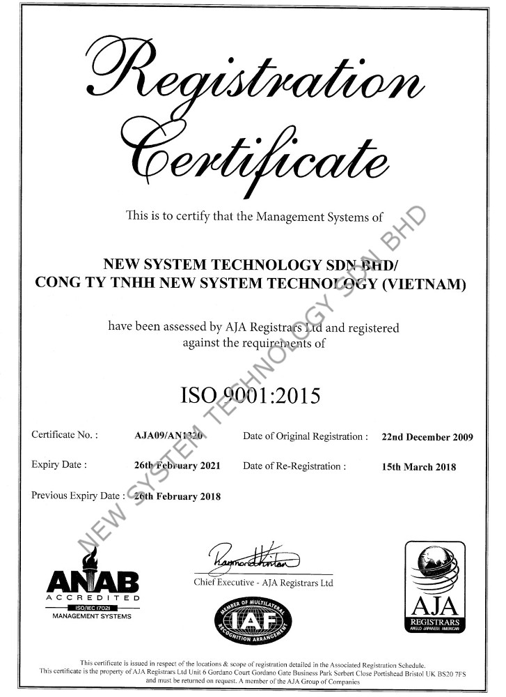 ISO 9001 2015 AN1320 NEW SYSTEM TECHNOLOGY SDN BHD 1