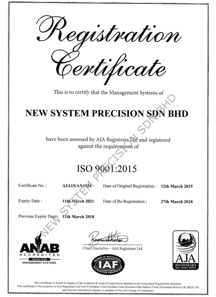 ISO 9001 2015 NEW SYSTEM PRECISION SDN BHD 1